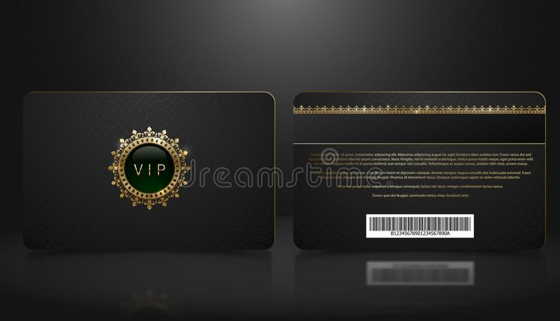 Vector template of membership or loyalty black VIP card with luxury geometric pattern. Front and back design presentation. Premium stock illustration