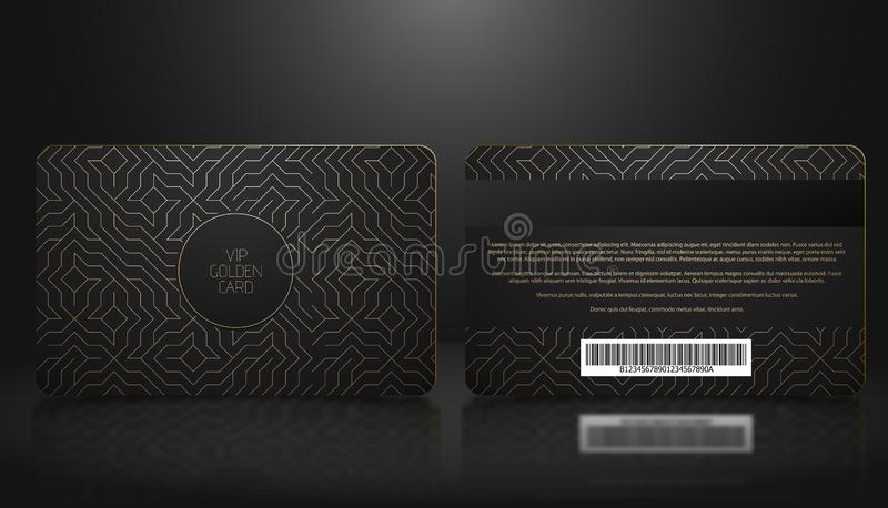 Vector template of membership or loyalty black VIP card with luxury golden geometric pattern. Front and back design presentation. Premium member, gift plastic stock illustration
