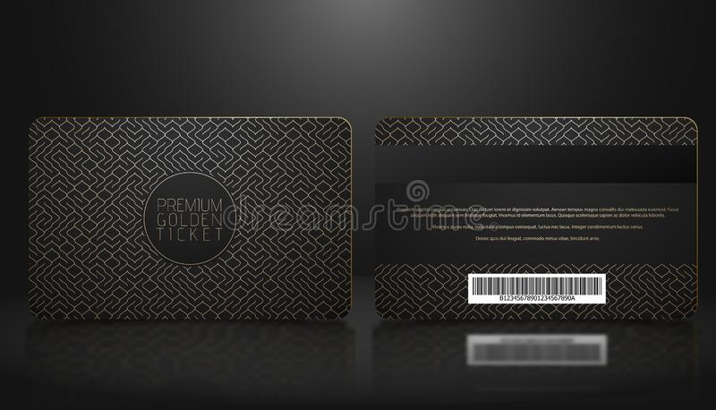 Vector template of membership or loyalty black VIP card with luxury golden geometric pattern. Front and back design presentation. Premium member, gift plastic royalty free illustration