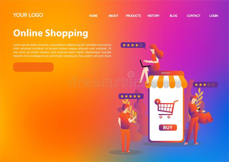 Vector template of online shopping concept. flat illustration vector stock photo