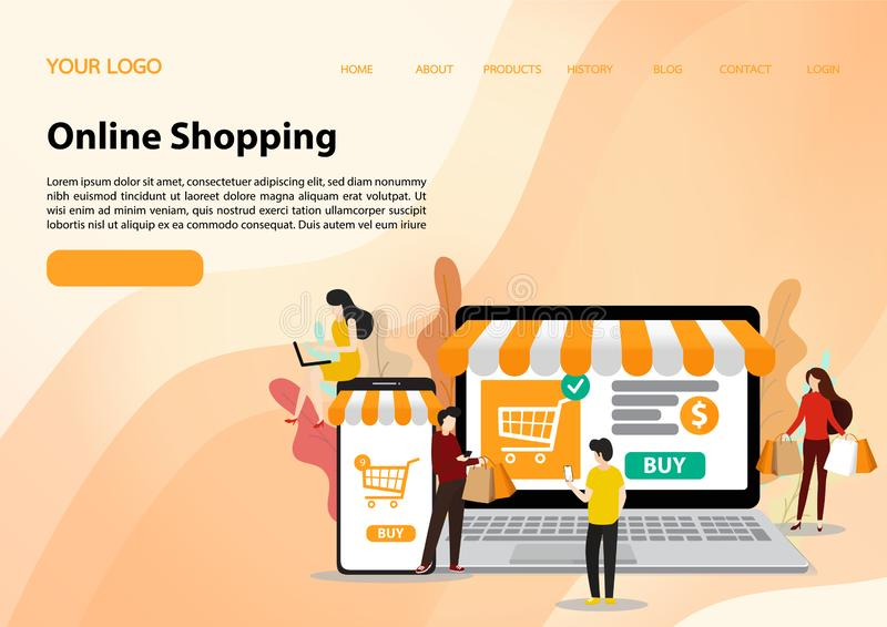 Vector template of online shopping concept. flat illustration vector royalty free stock image