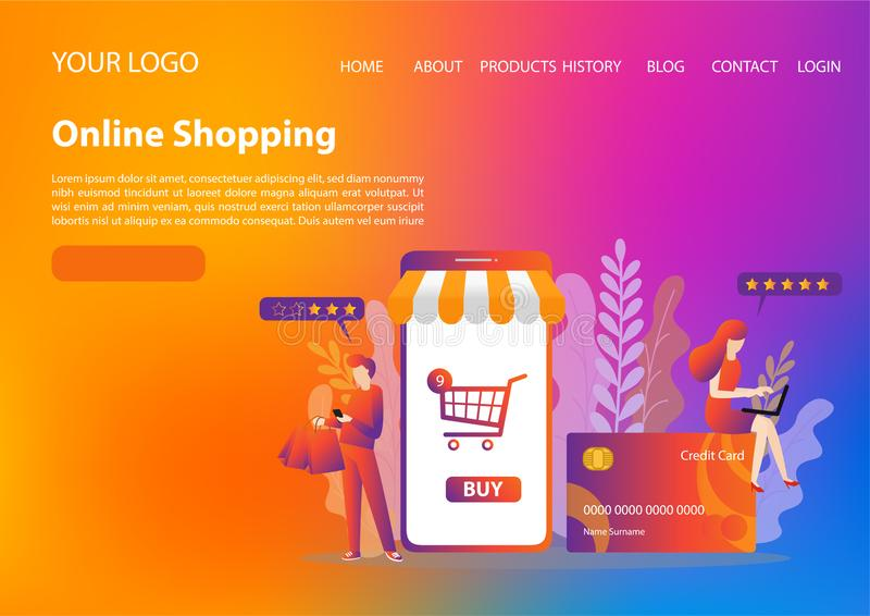 Vector template of online shopping concept. flat illustration vector royalty free stock images