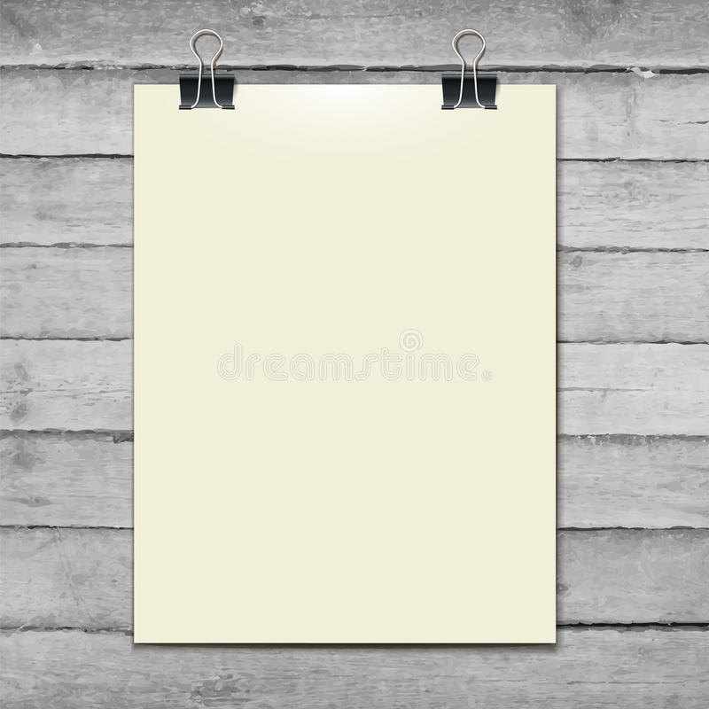 Vector template of a paper sheet on the wooden royalty free illustration