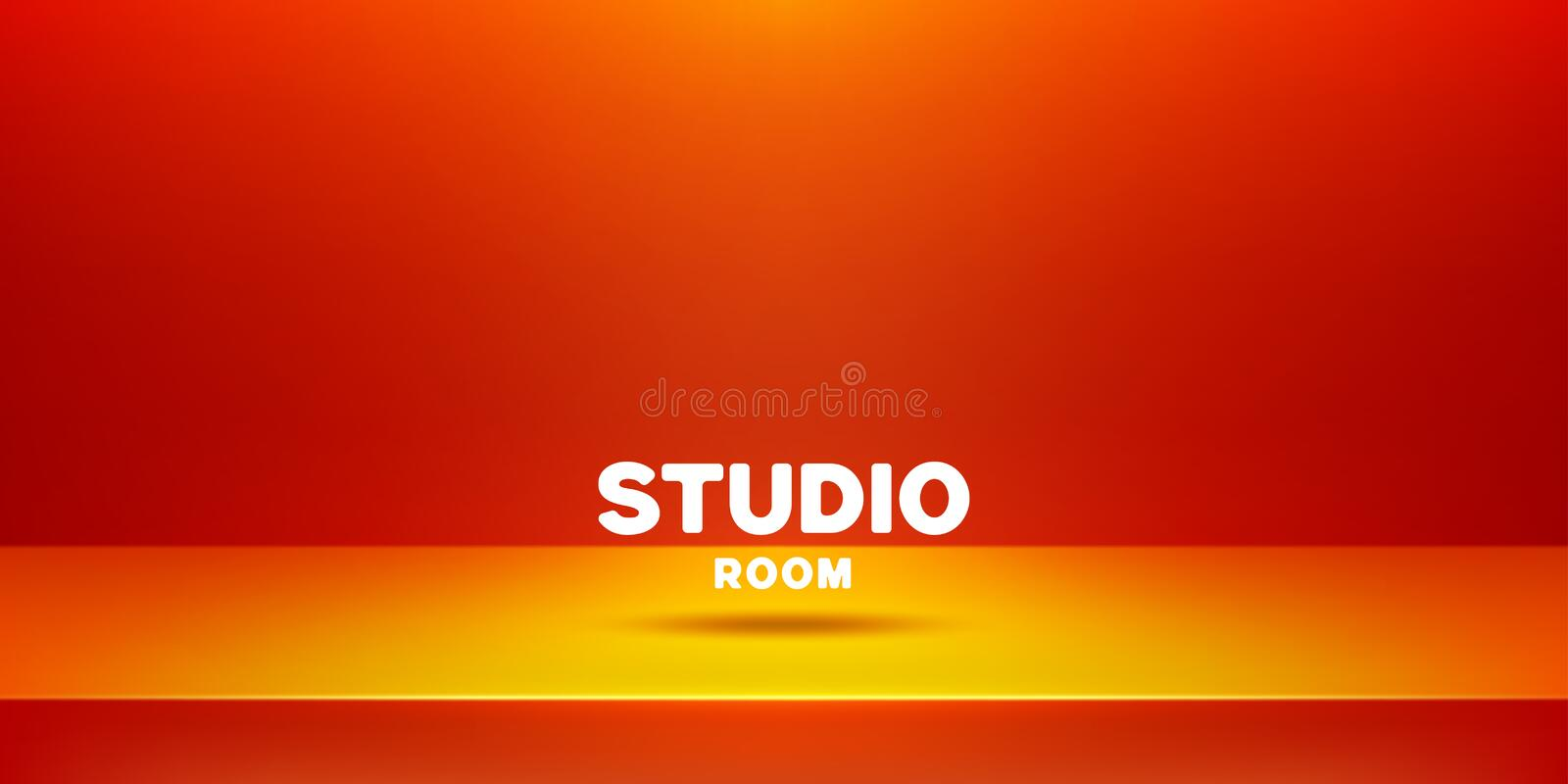 Vector template of photo studio backdrop, placed in interior. Mockup for your posters or photos. 3D empty modern orange studio royalty free illustration