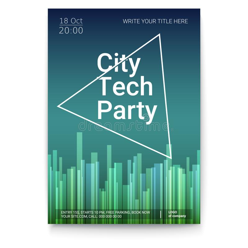 Vector template of poster, design layout for brochure, banner, flyer. Mock-up of City Techno Party event with text royalty free illustration