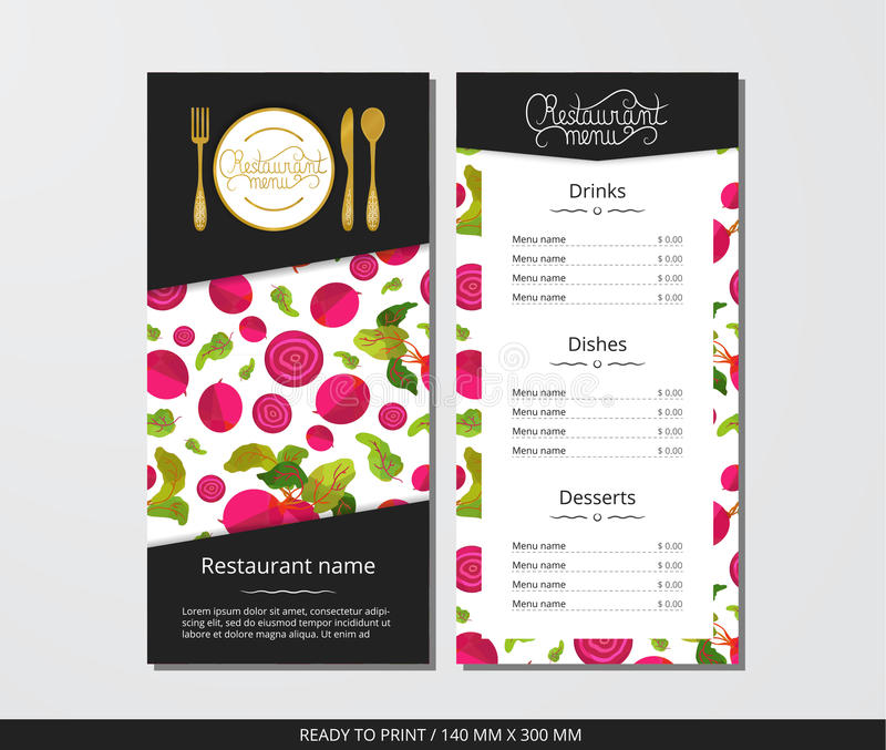 Vector template restaurant menu with gold cutlery and pattern beetroot and leaves. On grey field vector illustration