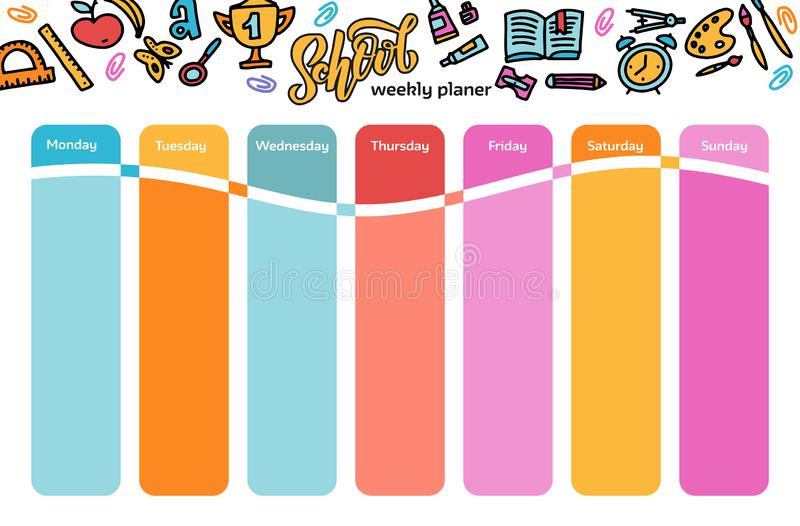 Vector Template School timetable for students and pupils. Illustration includes many hand drawn elements of school supplies. hand vector illustration