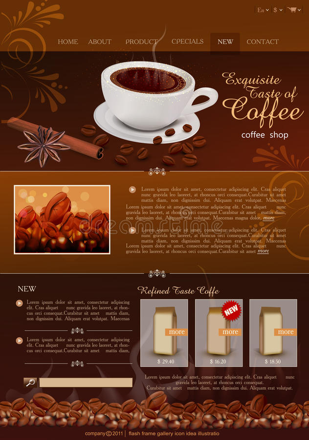 Vector template site coffee shop. The vector template site coffee shop royalty free illustration
