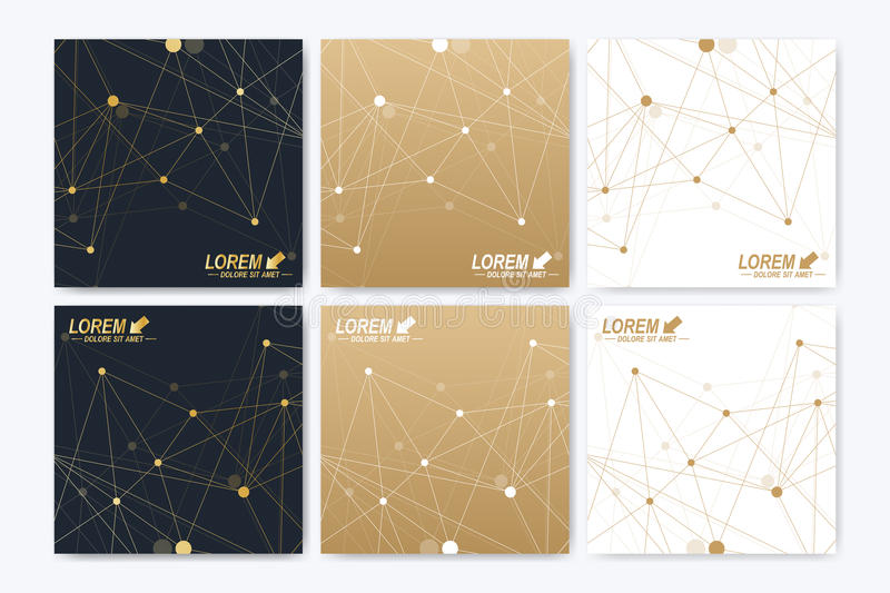 Vector template for square brochure, Leaflet, flyer, cover, booklet, magazine. Or annual report. Geometric background molecule and communication. Golden royalty free illustration