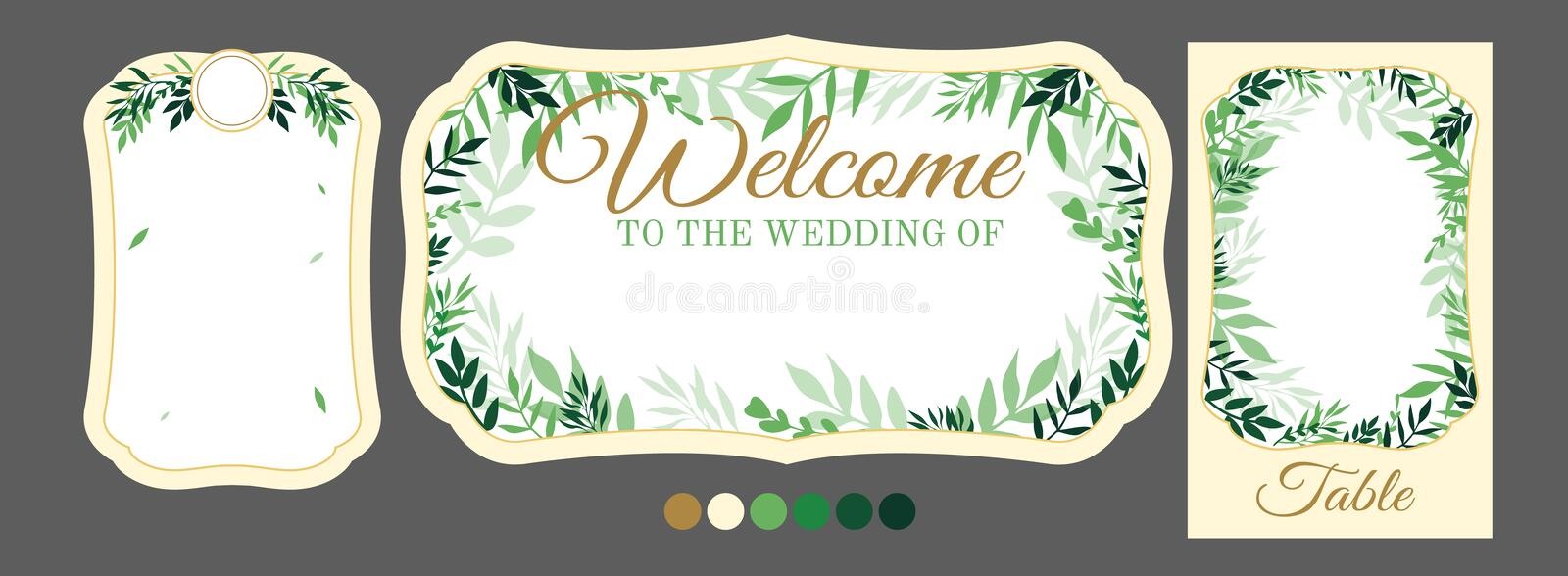 Vector template with tree leaves for personalised wedding signs. stock photography