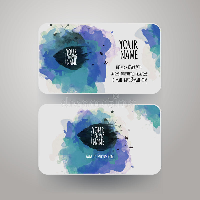Vector Template Watercolor Business Cards Stock Vector