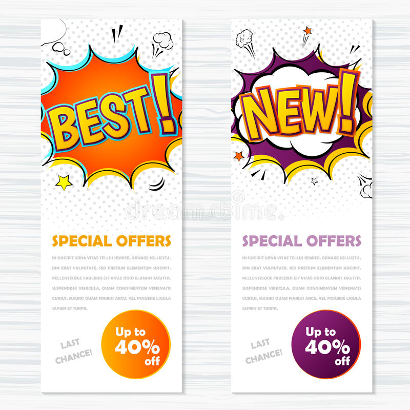 Vector templates banners comic style. Best and new royalty free illustration