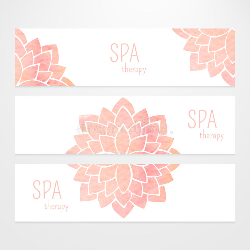 Vector templates of banners with watercolor pink lotus flower mandala. A set of vector templates of business banners. Watercolor pink lotus flowers on a white royalty free illustration