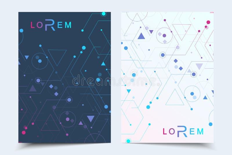 Vector templates for brochure magazine leaflet flyer cover booklet annual report. Modern futuristic hexagonal pattern stock illustration