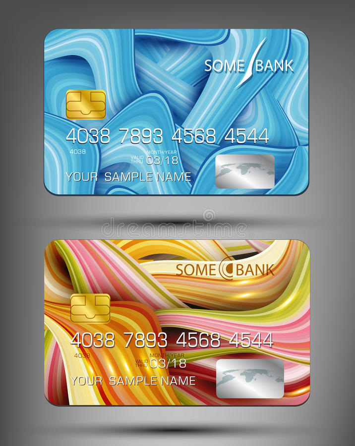 Vector templates credit cards with abstract pattern vector illustration