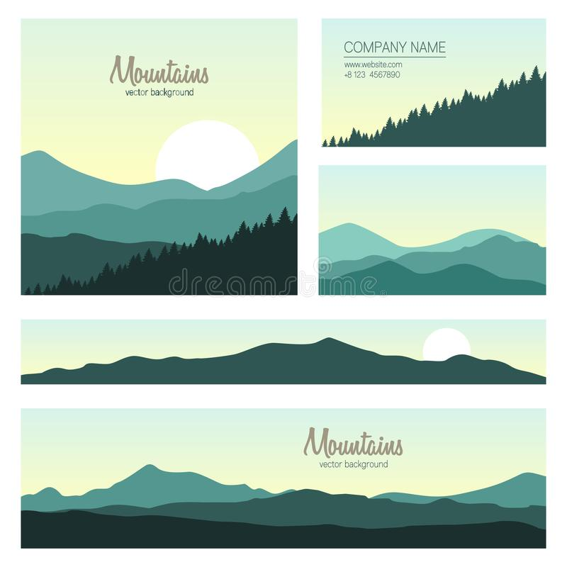 Set of green mountains and forest backgrounds stock illustration