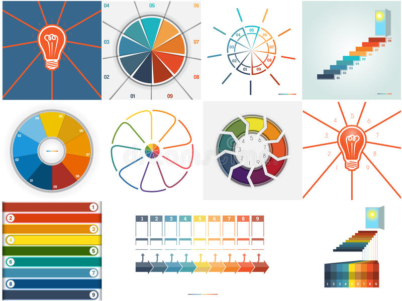 Vector 11 templates Infographics. Vector 11 templates, Infographics cyclic processes, text area nine position possible to use for work flow, banner, diagram, web stock illustration