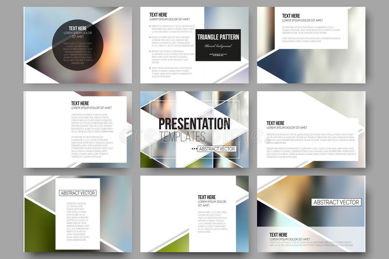 Vector templates for presentation slides. Abstract multicolored background of blurred nature landscapes, geometric royalty free illustration