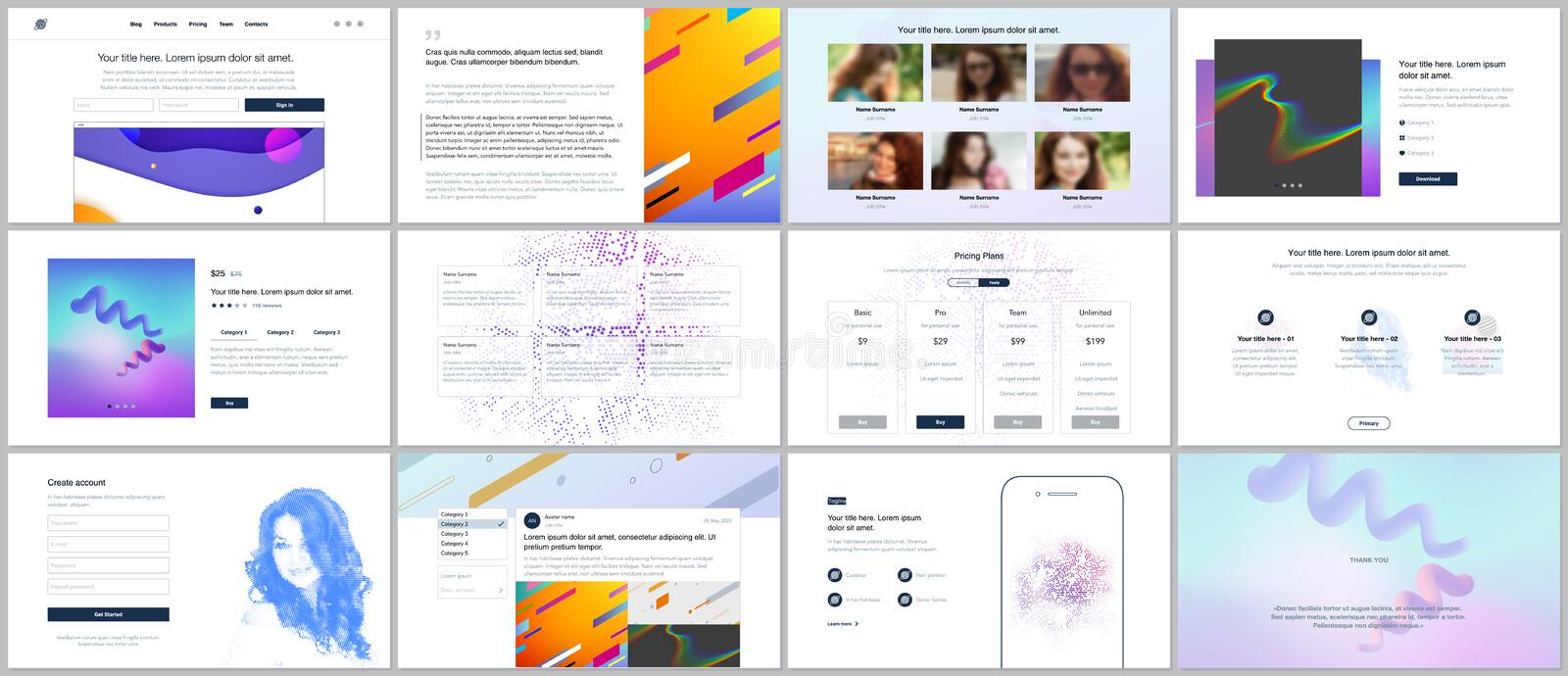 Vector templates for website design, minimal presentations, portfolio with geometric colorful patterns, gradients, fluid royalty free illustration