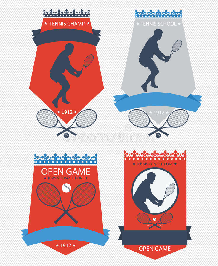 Vector tennis emblems. Tennis team, championship or school emblems royalty free illustration