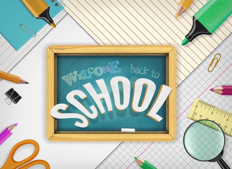 Vector terug naar schoolconcept met onderwijselementen, schoollevering, geweven bord op notitieboekjedocument achtergrond stock illustratie