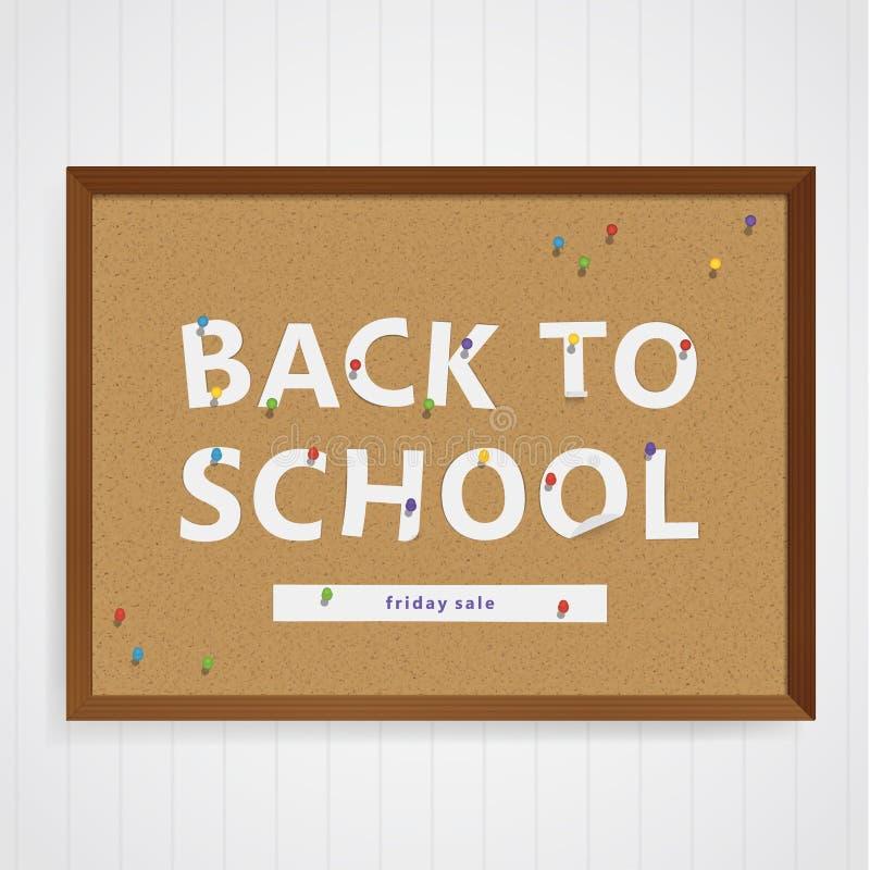 Vector terug naar schoolillustratie Semi-echt corkboard met pap royalty-vrije illustratie