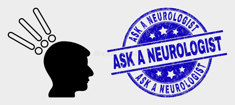 Vector Test Head Icon und Scratched Ask a Neurologist Stamp vektor abbildung
