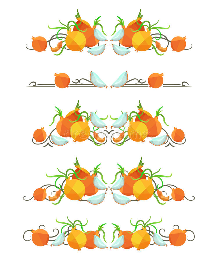 Download Vector Text Dividers With Onion And Slice In Origami Style Stock Vector - Image: 83717777