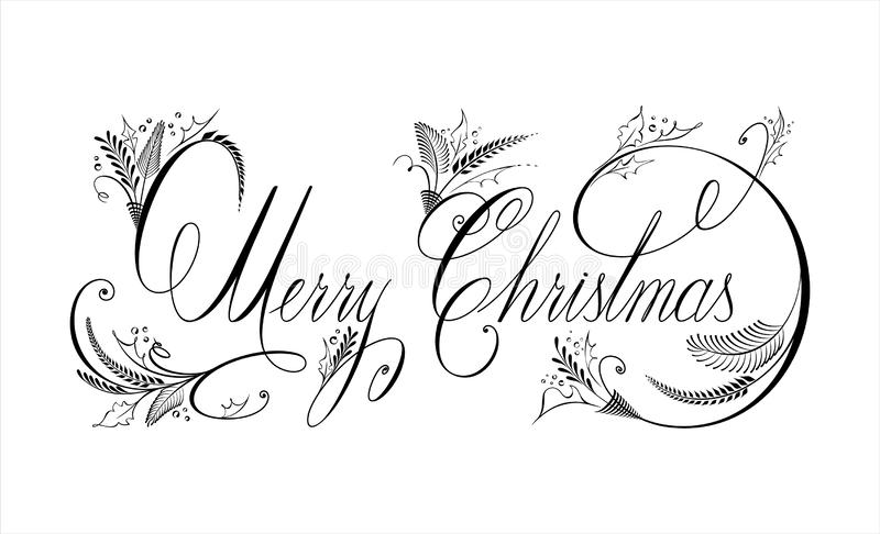 Vector text Merry Christmas. Flourishing and ornamental calligraphy. Handwritten lettering. Greeting card royalty free stock image