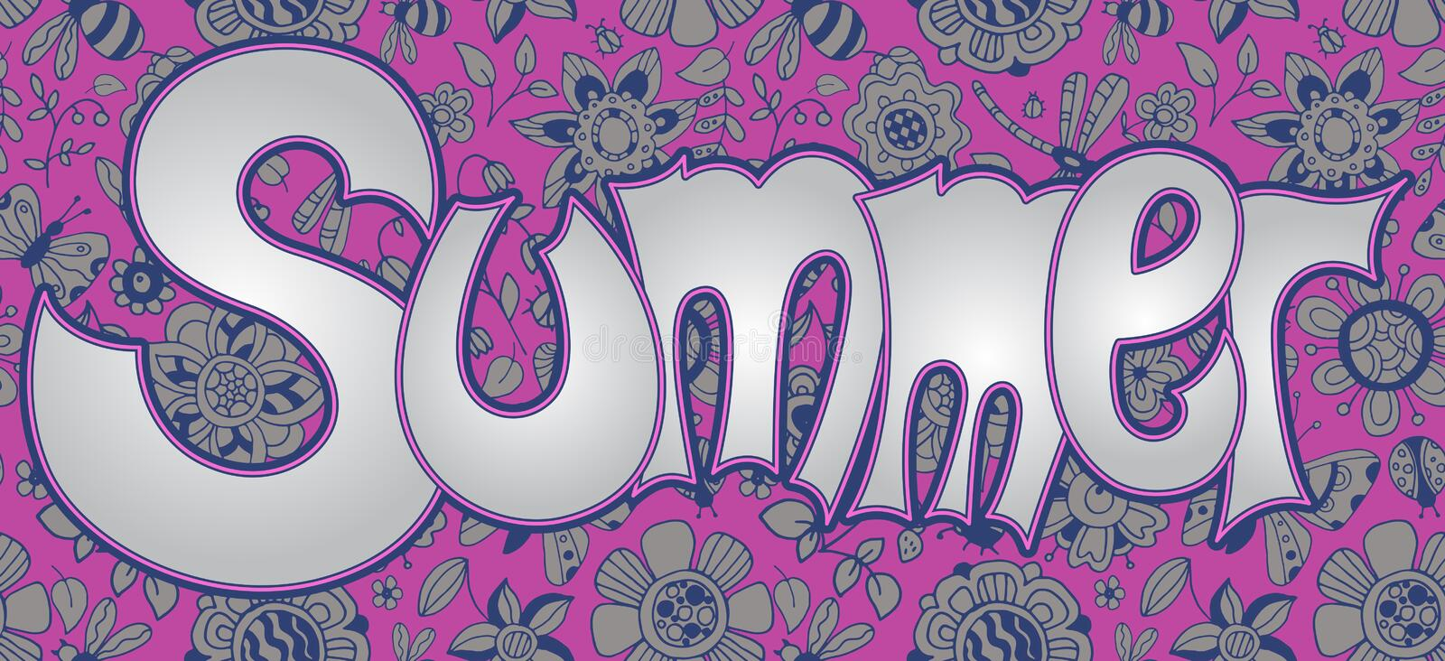 Vector text Summer with floral multicolored background. royalty free illustration