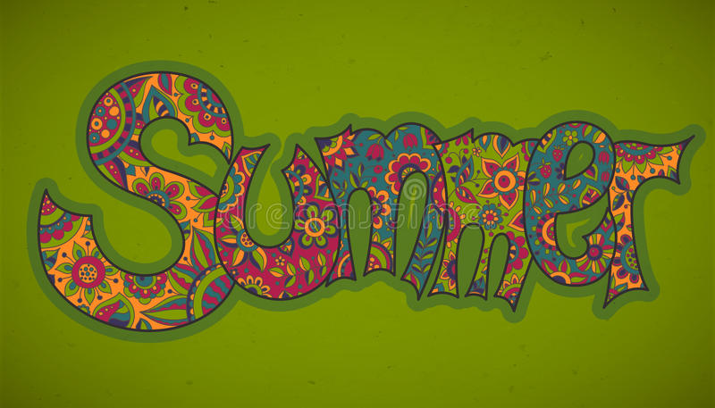 Vector text Summer with floral multicolored background. vector illustration
