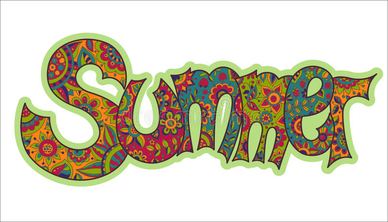 Vector text Summer with floral multicolored background. stock illustration