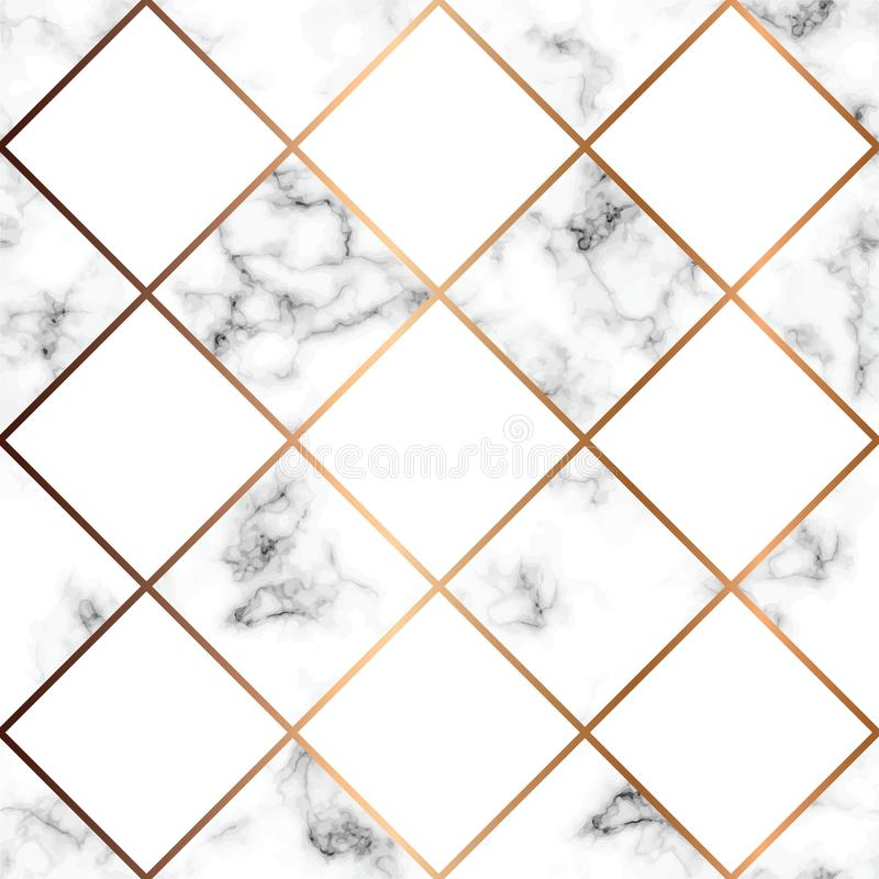 Vector a textura de mármore, projeto sem emenda do teste padrão com quadrados brancos ilustração do vetor
