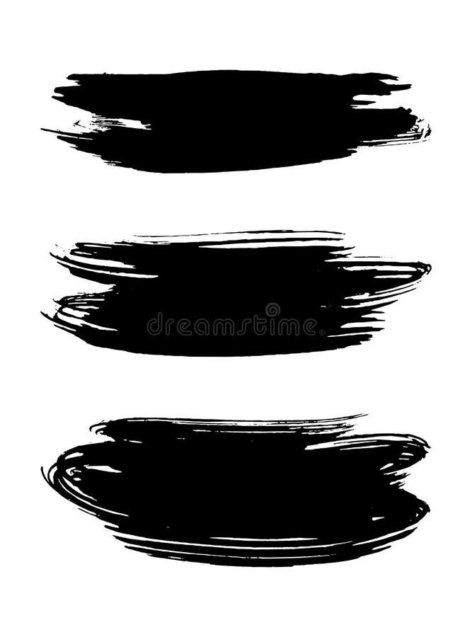Vector a textura preta da pintura, curso da escova da tinta ilustração royalty free