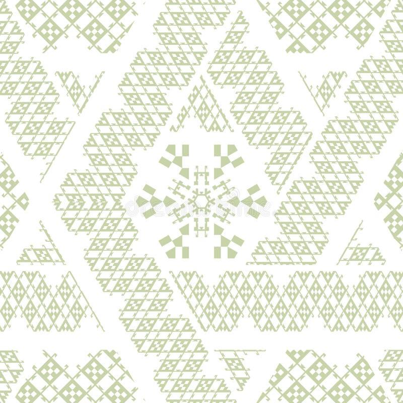 Vector a textura sem emenda étnica mexicana tribal, teste padrão com listras, triângulos geométricos ilustração stock