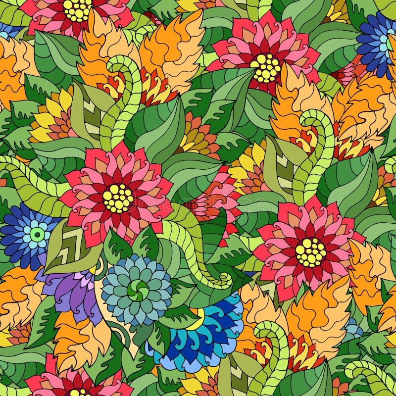 Vector a textura sem emenda com flores e as folhas abstratas ilustração royalty free