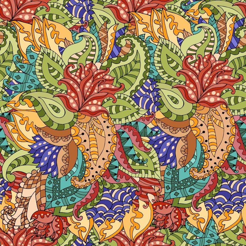 Vector a textura sem emenda com flores e as folhas abstratas ilustração stock