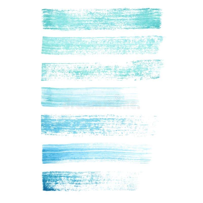 Vector texturas pintados à mão dos cursos da escova do grunge do azul e da turquesa ilustração royalty free