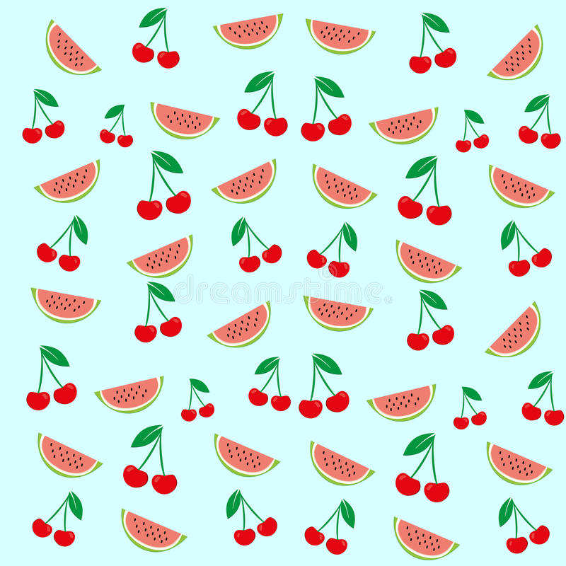 Vector texture of a cherry fruit and watermelon is on a colored background. Illustration of cherry, watermelon, fruit stock illustration