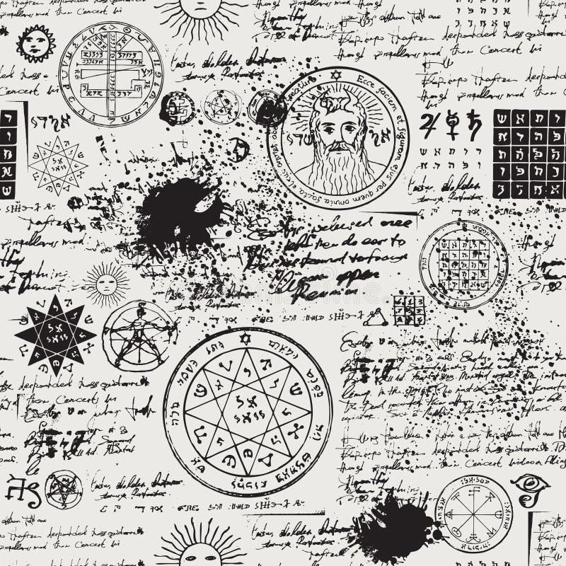 Seamless pattern, manuscript with occult symbols vector illustration