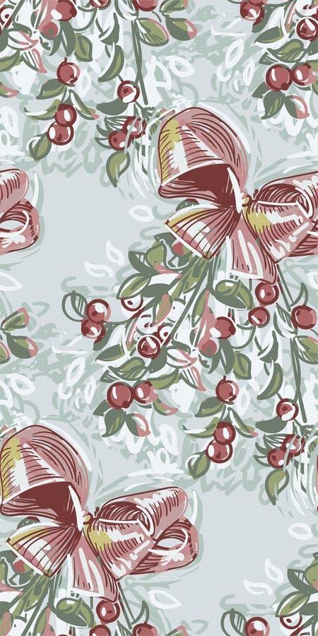 Vector texturizado pintura inconsútil rosada azul del modelo del Año Nuevo de la Navidad del muérdago stock de ilustración