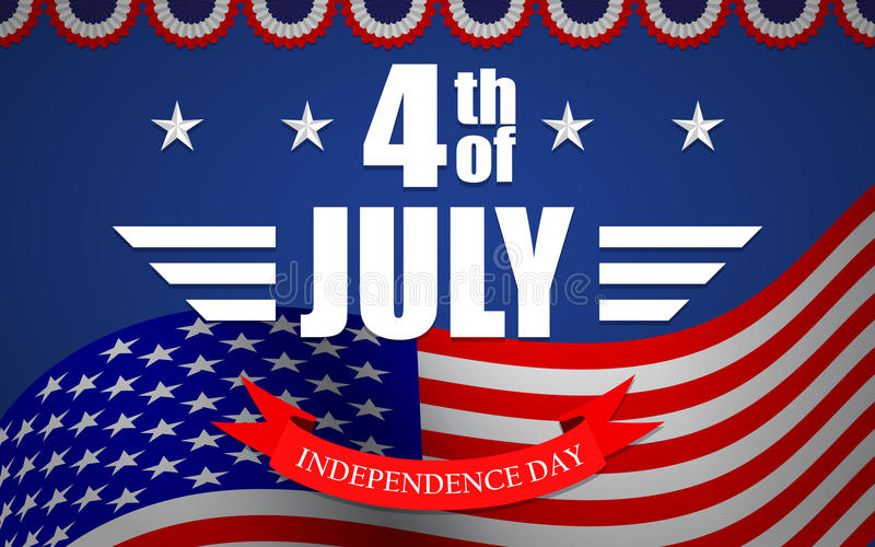 Vector 4th of July background with flag, stars, bunting and lettering. Template for USA Independence Day. royalty free illustration