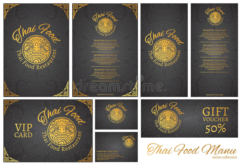 Vector thai food restaurant menu template.thai tradition. Background vector illustration