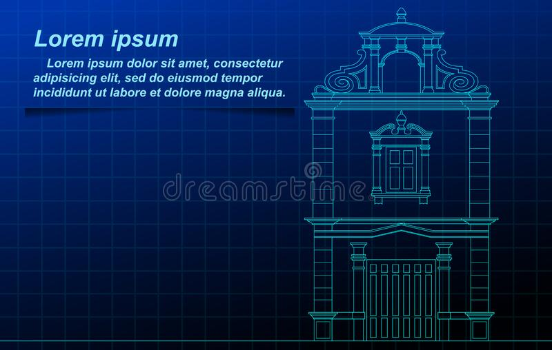 Thai historic building outline. vector illustration