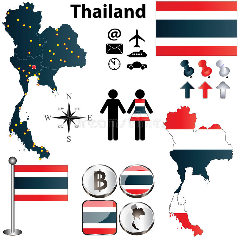 Download Map of Thailand stock vector. Illustration of silhouette - 30037306