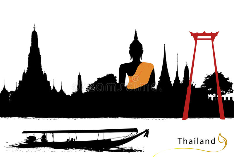 Vector of thailand. Skyline thailand with boat silhouette