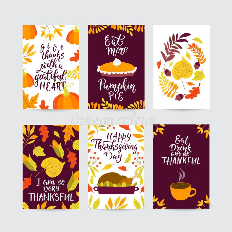 Vector Thanksgiving day greeting cards big collection. Vector Thanksgiving day greeting card, flyer, banner, poster templates. Hand drawn symbols, pumpkin pie vector illustration