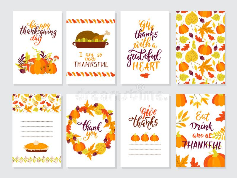 Vector Thanksgiving day greeting cards big collection. Vector Thanksgiving day invitation and greeting card, flyer, banner, poster templates. Hand drawn symbols royalty free illustration