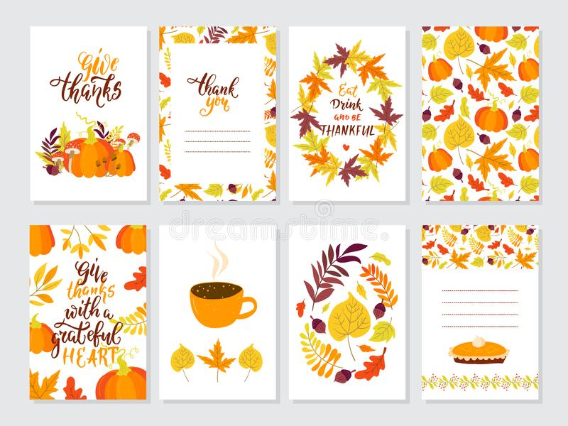 Vector Thanksgiving day greeting cards big collection. Vector Thanksgiving day invitation and greeting card, flyer, banner, poster templates. Hand drawn symbols vector illustration