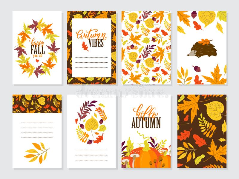 Vector Thanksgiving day greeting cards big collection. Vector set of Autumn greeting cards with pumpkin, hedghog, maple, oak, aspen leaves. Perfect template for royalty free illustration